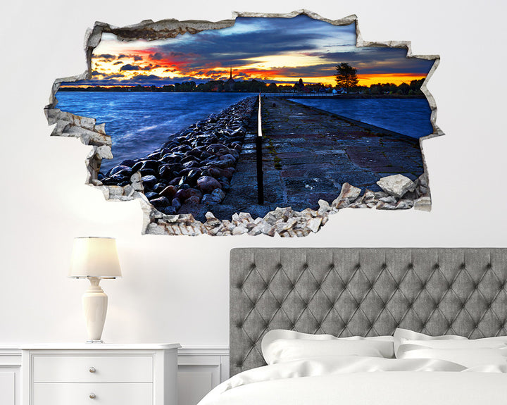 Sea Promenade Sunset Bedroom Decal Vinyl Wall Sticker I236
