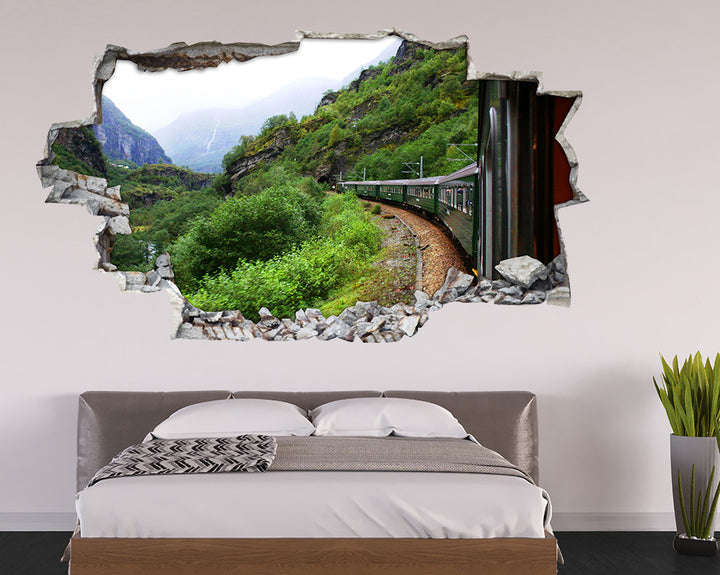 Scenic Mountain Train Bedroom Decal Vinyl Wall Sticker I237