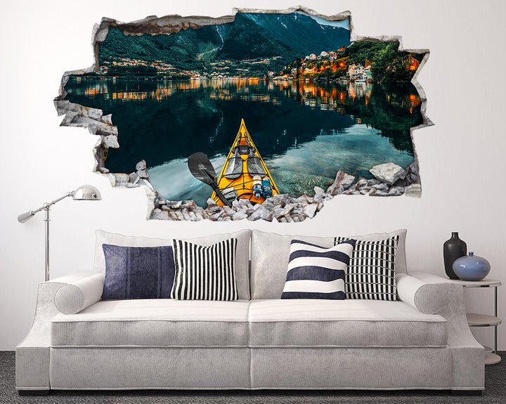 Yellow Kayak Mountains Living Room Decal Vinyl Wall Sticker I238