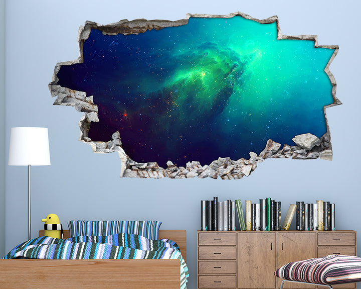 Space Green Nebula Boys Bedroom Decal Vinyl Wall Sticker I247