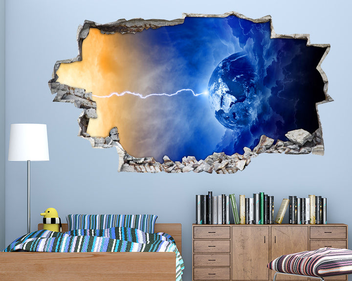 Lightning Bolt Planet Boys Bedroom Decal Vinyl Wall Sticker I248