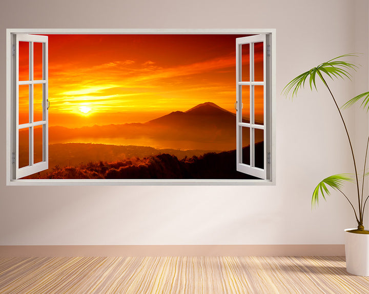 Orange Colourful Sunset Living Room Decal Vinyl Wall Sticker I256