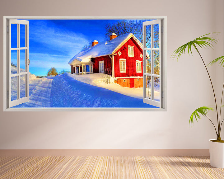 Snow Log Cabin House Hall Decal Vinyl Wall Sticker I259