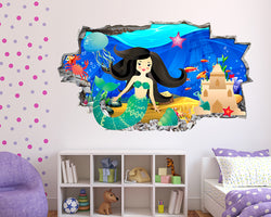 Mermaid Ocean Castle Girls Bedroom Decal Vinyl Wall Sticker J121