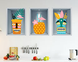 Cocktails Paradise Pineapple Kitchen Decal Vinyl Wall Sticker J127