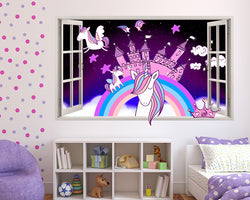 Unicorn Castle Rainbow Girls Bedroom Decal Vinyl Wall Sticker J394