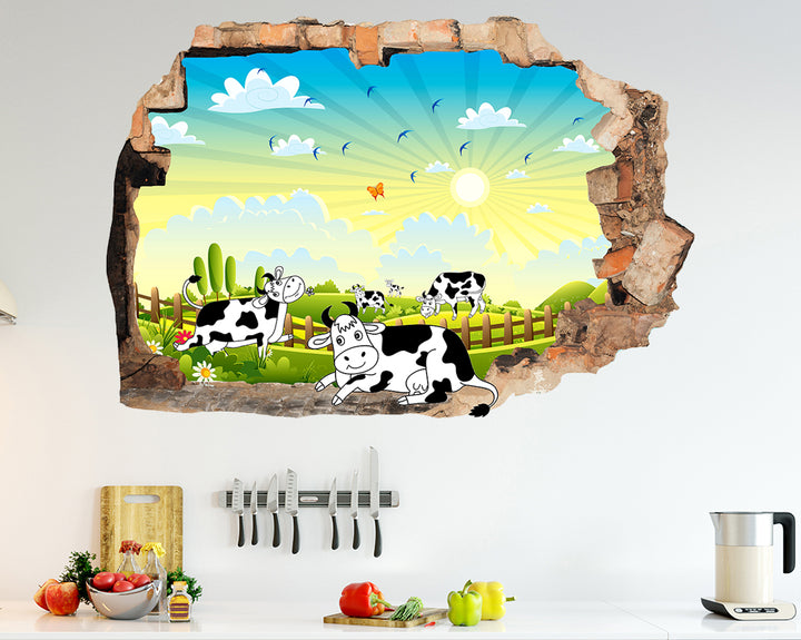 Cows Field Nature Kitchen Decal Vinyl Wall Sticker J536
