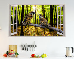 Birds Forest Branch Kitchen Decal Vinyl Wall Sticker J841