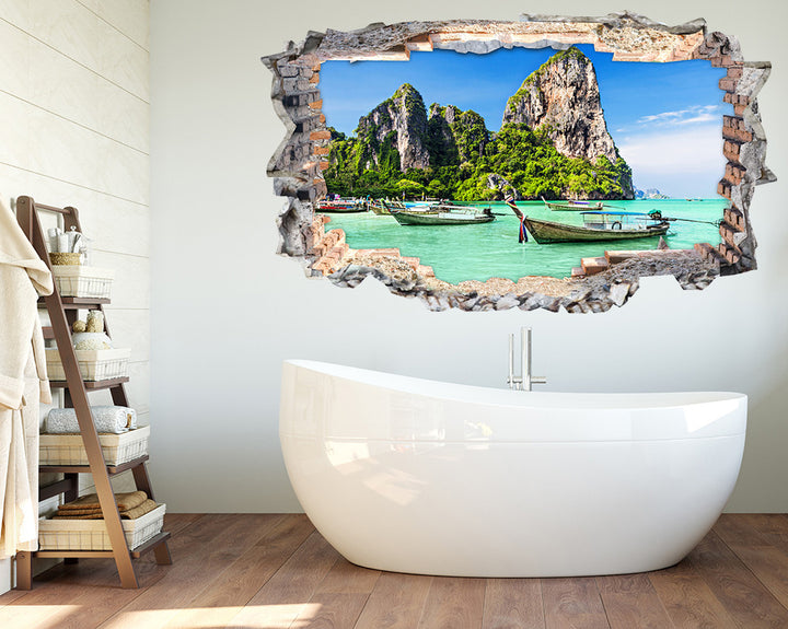 Bahamas Paradise Boats Bathroom Decal Vinyl Wall Sticker K102i
