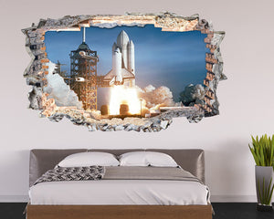 Space Rocket Take Off Bedroom Decal Vinyl Wall Sticker L004i