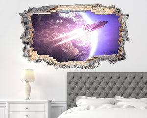 Space Rocket Earth Bedroom Decal Vinyl Wall Sticker L014i