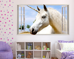 White Unicorn Horse Girls Bedroom Decal Vinyl Wall Sticker M211