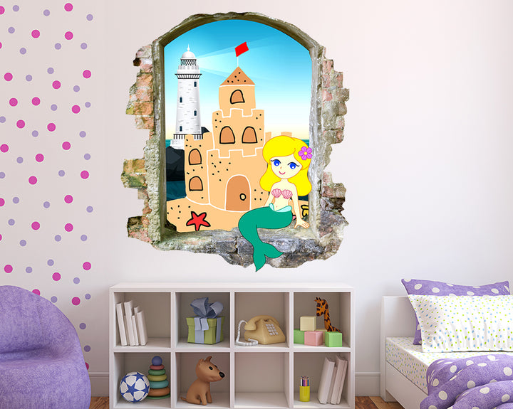 Mermaid Sand Castle Beach Girls Bedroom Decal Vinyl Wall Sticker M477