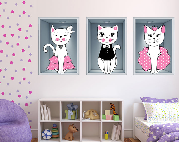 Cats Crown Dress Girls Bedroom Decal Vinyl Wall Sticker M499