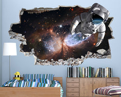 Floating Astronaut Boys Bedroom Decal Vinyl Wall Sticker Q004