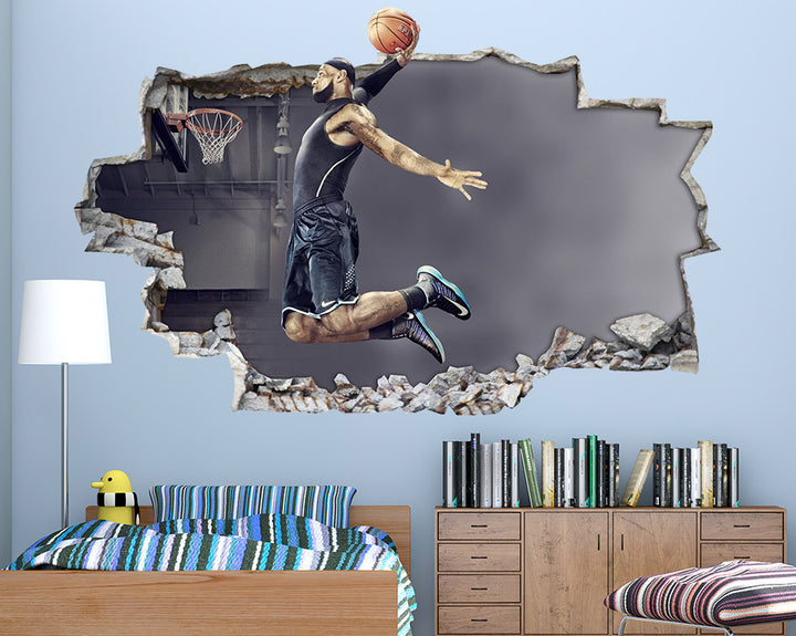 Basketball Jump Boys Bedroom Decal Vinyl Wall Sticker Q009