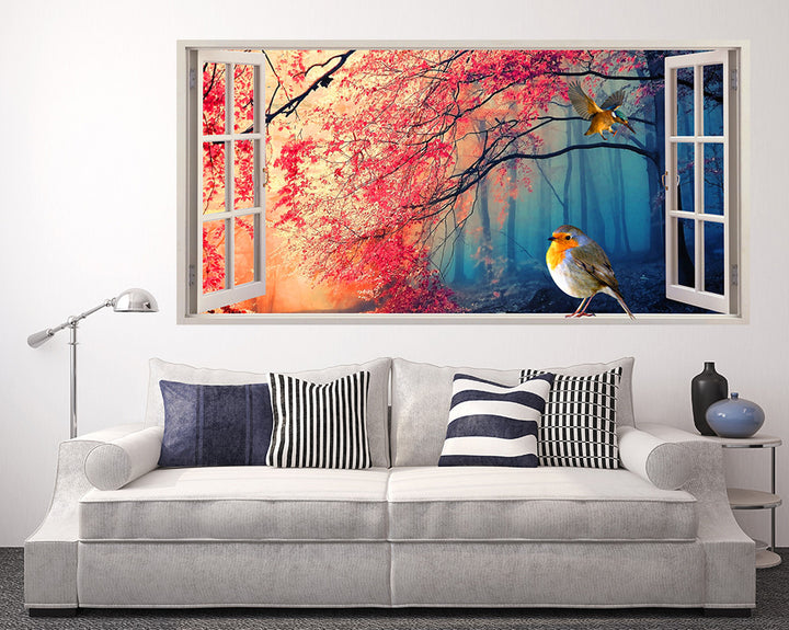 Robin Bird In Forest Living Room Decal Vinyl Wall Sticker Q016