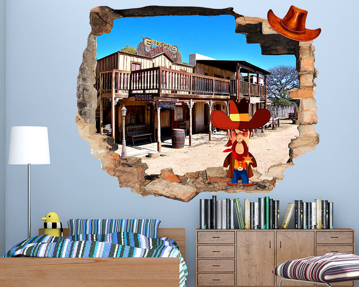 Western Cowboy Boys Bedroom Decal Vinyl Wall Sticker Q044