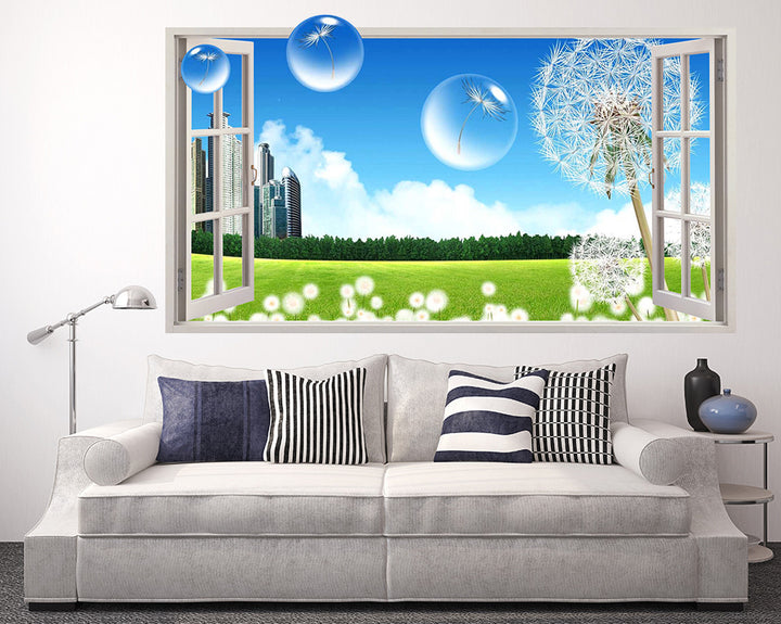 Dandelion Bubbles Living Room Decal Vinyl Wall Sticker Q045