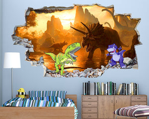 Scary Dinosaur Boys Bedroom Decal Vinyl Wall Sticker Q049