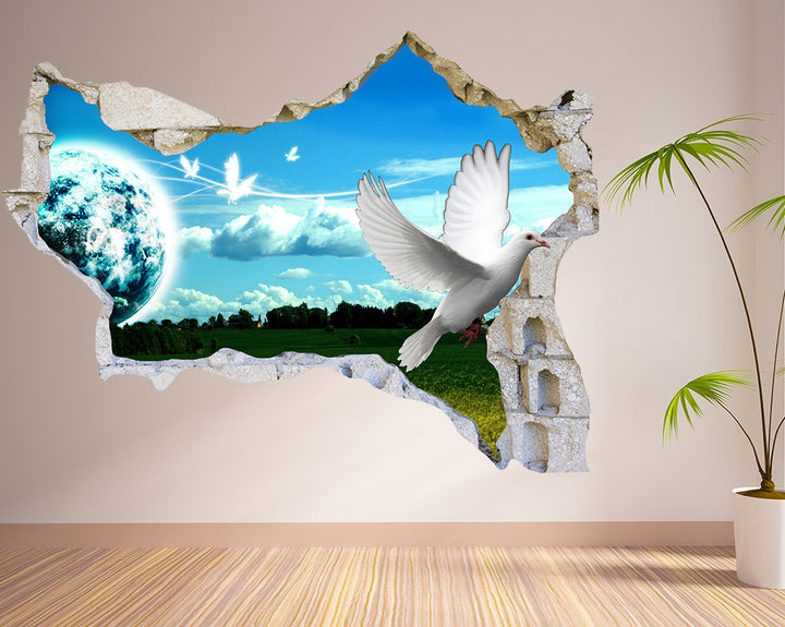 Flying Dove Living Room Decal Vinyl Wall Sticker Q055