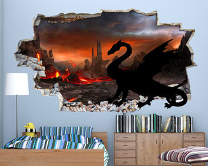Dragon Volcano Boys Bedroom Decal Vinyl Wall Sticker Q058