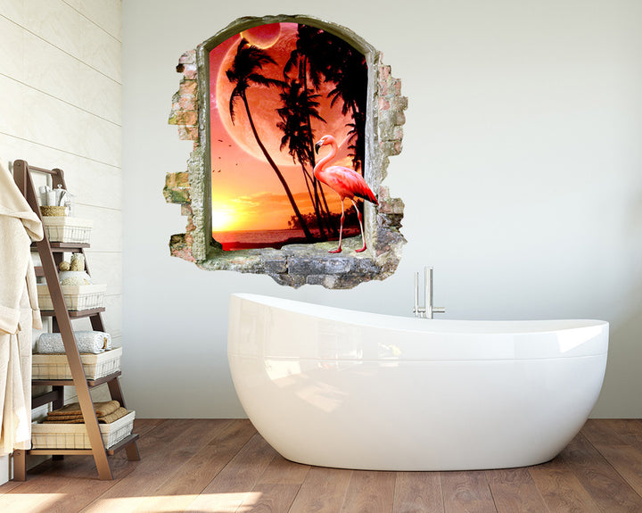 Sunset Flamingo Bathroom Decal Vinyl Wall Sticker Q069