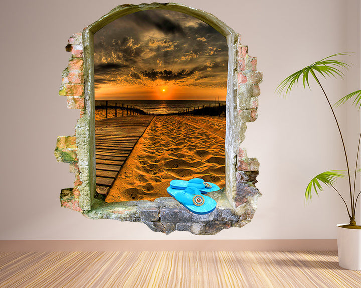 Sunset Beach Living Room Decal Vinyl Wall Sticker Q070