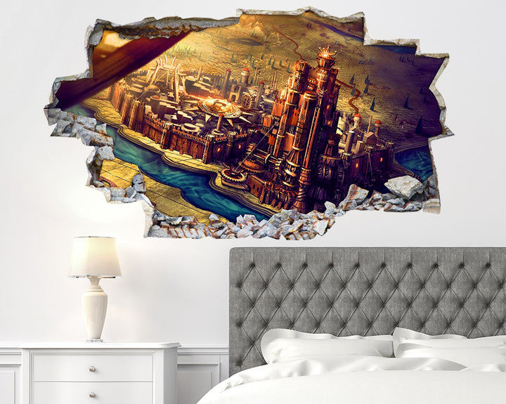 Map Building Bedroom Decal Vinyl Wall Sticker Q079