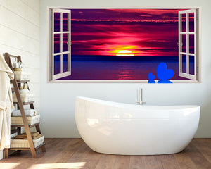 Sunset Hearts Bathroom Decal Vinyl Wall Sticker Q085