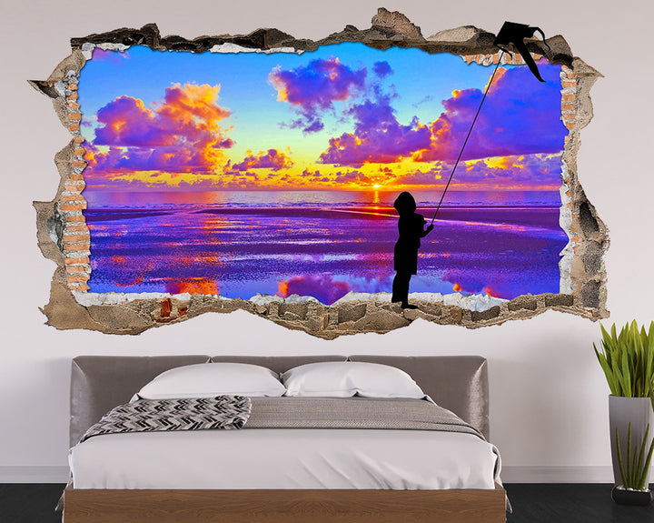 Flying Kite Sunset Bedroom Decal Vinyl Wall Sticker Q098