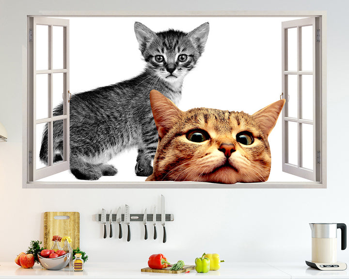 Peeking Cat Kitchen Decal Vinyl Wall Sticker Q099