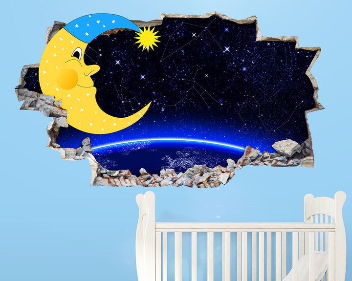 Moon Night Stars Nursery Decal Vinyl Wall Sticker Q118