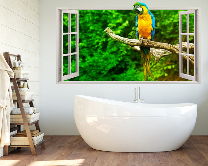 Parrot Tree Branch Bathroom Decal Vinyl Wall Sticker Q128
