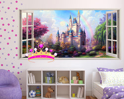 Pink Castle Girls Bedroom Decal Vinyl Wall Sticker Q139