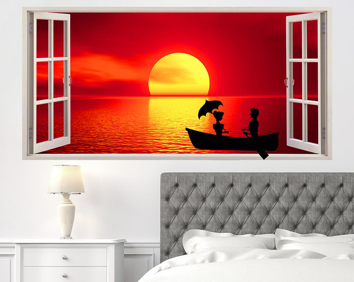 Sunset Boat Silhouette Bedroom Decal Vinyl Wall Sticker Q145