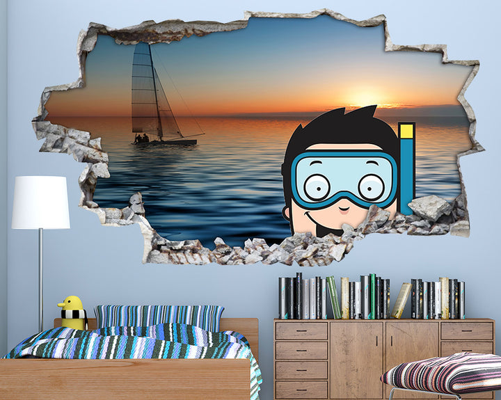 Snorkelling Boy Boys Bedroom Decal Vinyl Wall Sticker Q154