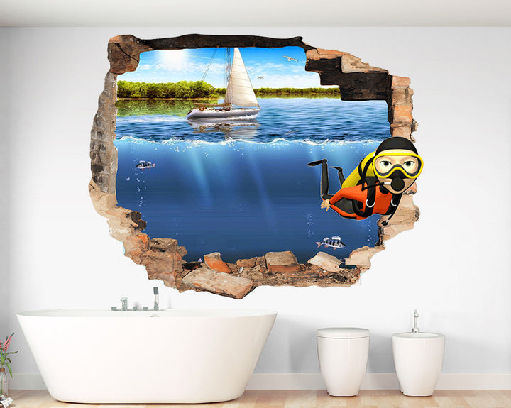 Sea Snorkelling Bathroom Decal Vinyl Wall Sticker Q155