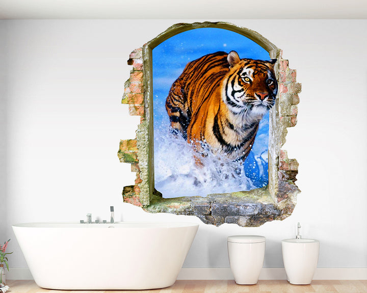 Tiger Splash Bathroom Decal Vinyl Wall Sticker Q169
