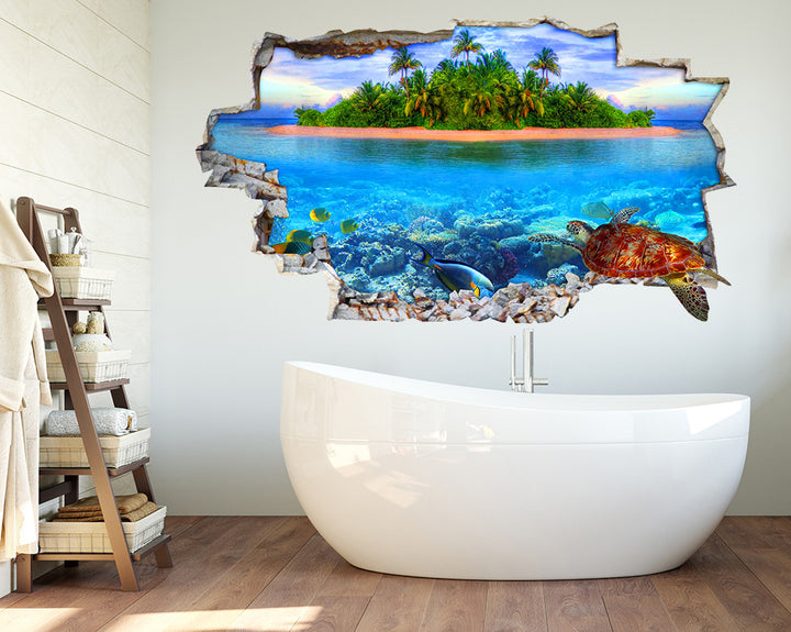 Sea Turtle Bathroom Decal Vinyl Wall Sticker Q173