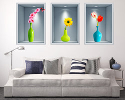 Flower Vase Living Room Decal Vinyl Wall Sticker Q180