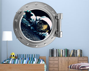Astronaut Moon Boys Bedroom Decal Vinyl Wall Sticker Q181