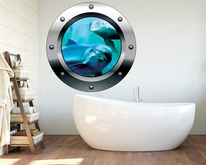 Underwater Dolphin Bathroom Decal Vinyl Wall Sticker Q184
