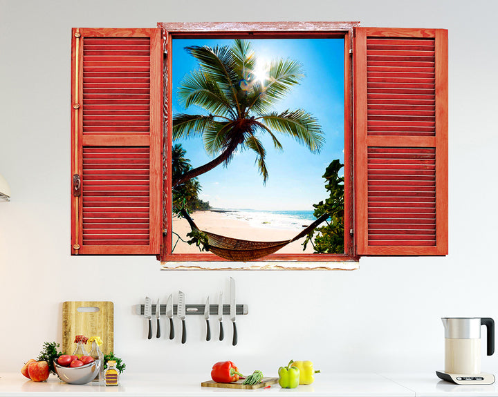 Beach Hammock Kitchen Decal Vinyl Wall Sticker Q196