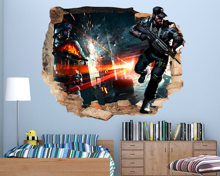 War Explosion Boys Bedroom Decal Vinyl Wall Sticker Q210