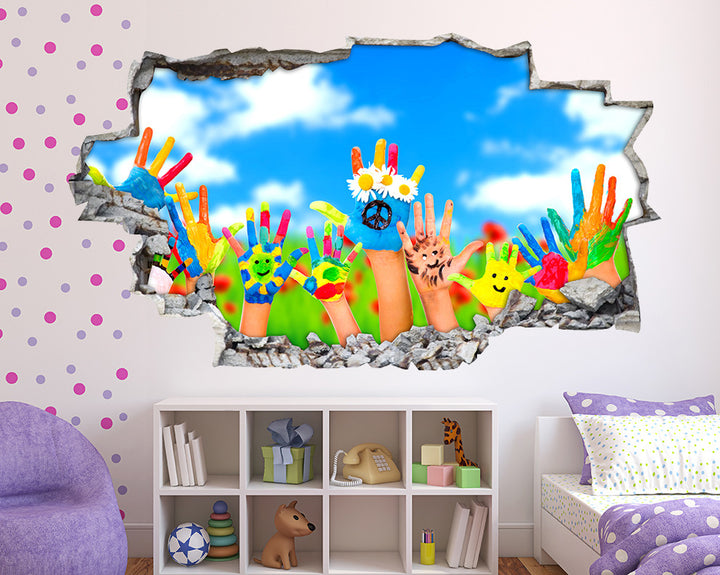 Colourful Hands Girls Bedroom Decal Vinyl Wall Sticker Q217