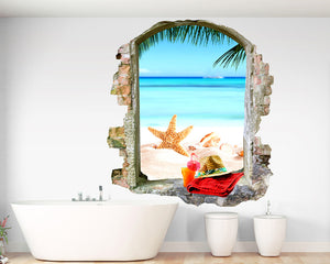 Beach Holiday Bathroom Decal Vinyl Wall Sticker Q232
