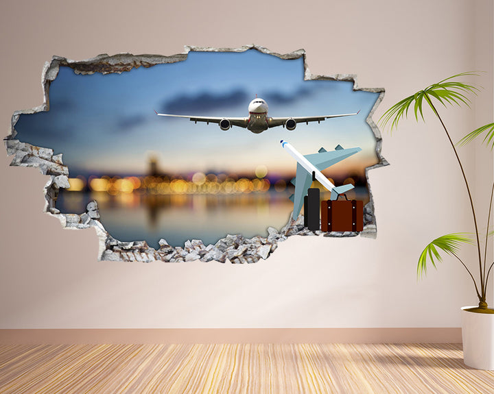 Airplane Landing Living Room Decal Vinyl Wall Sticker Q234