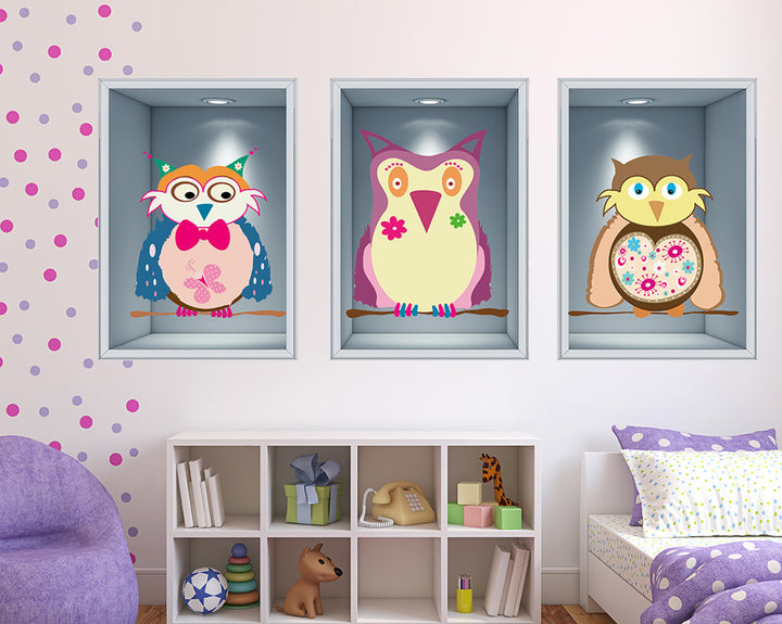 Cartoon Owl Girls Bedroom Decal Vinyl Wall Sticker Q246