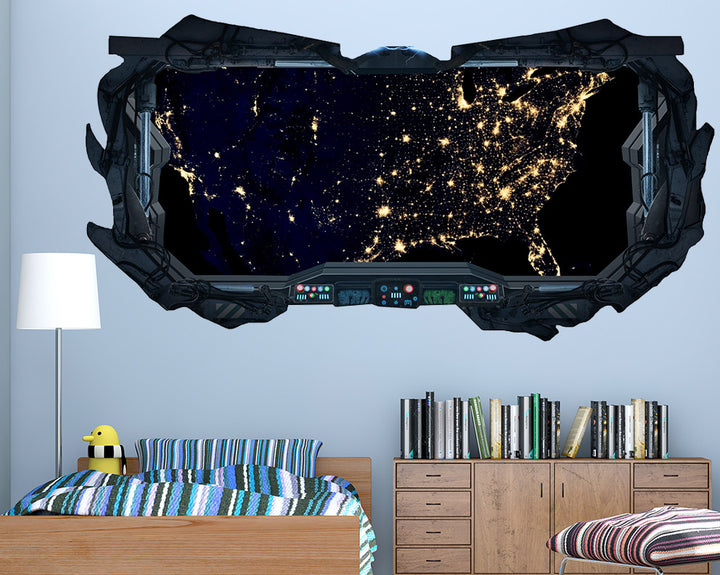 Space Lights Boys Bedroom Decal Vinyl Wall Sticker Q254